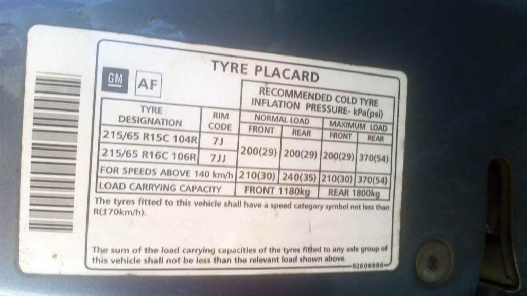 Tyre Placard - Tyre Information