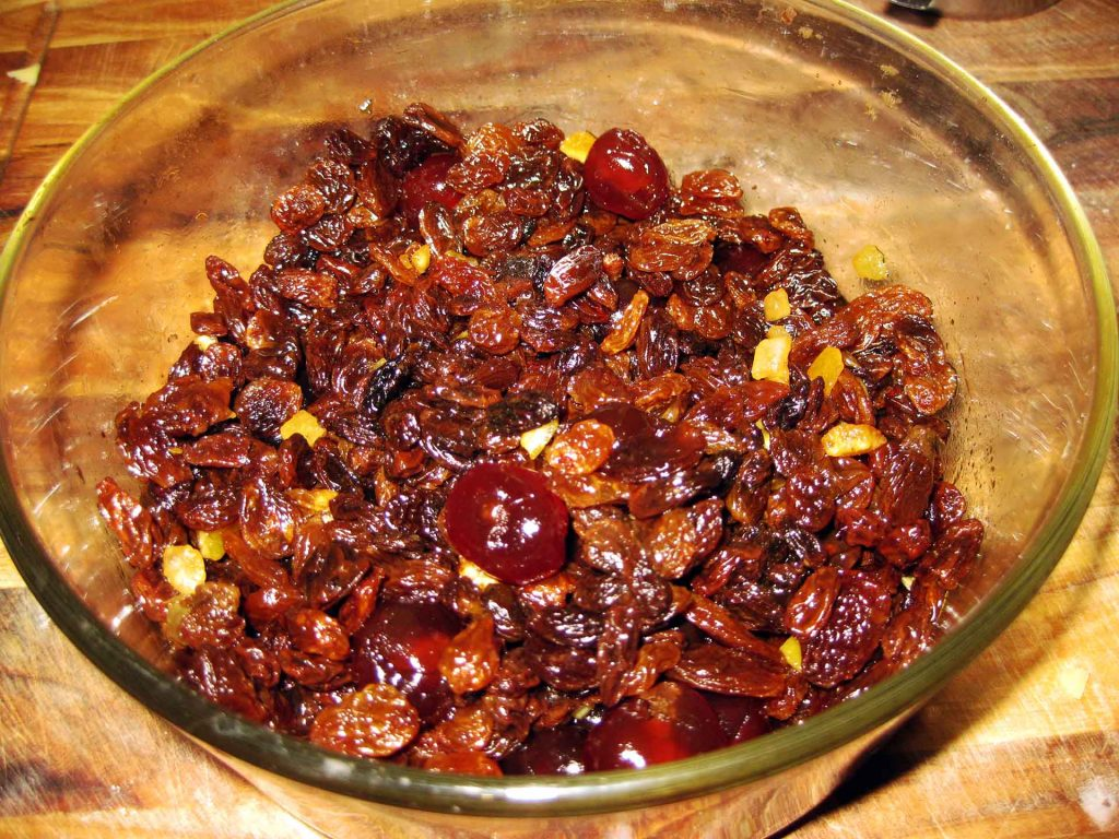 Fruit soaked in Alcohol for the Christmas Cake Recipe