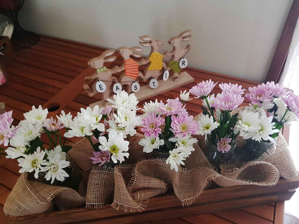 Simple Table Decoration with jars and flowers