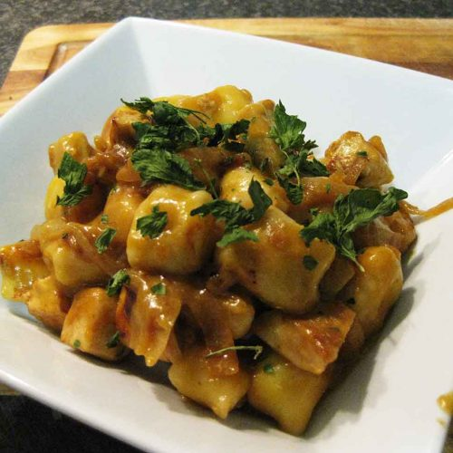 Gnocchi cooked and ready to eat