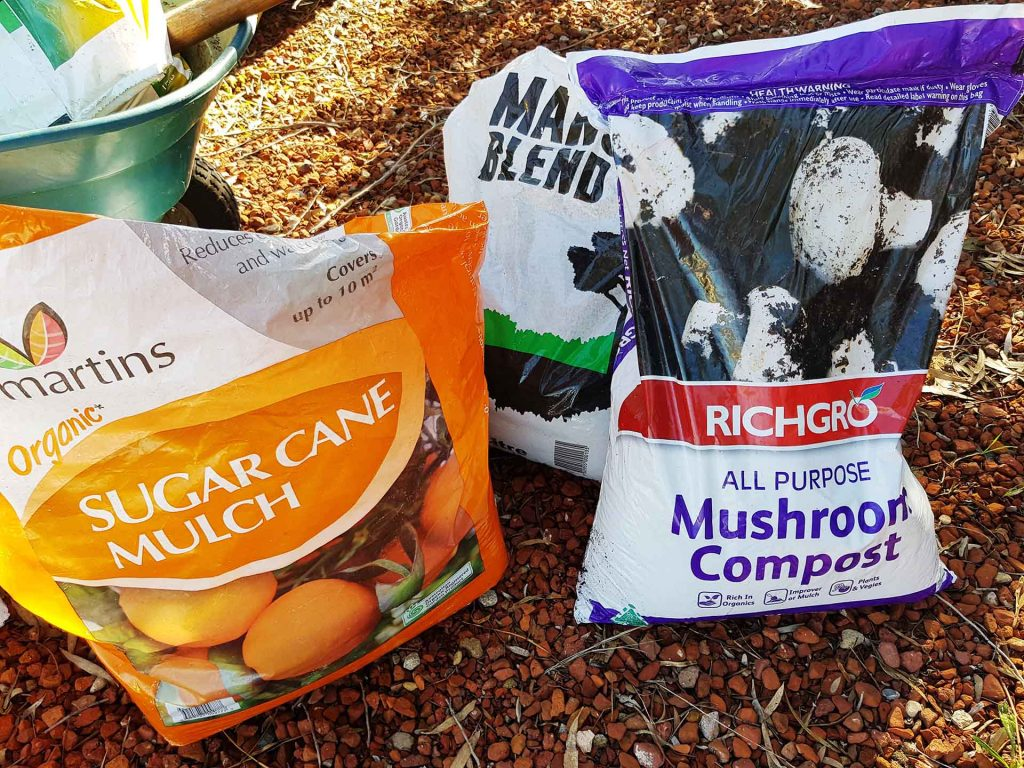 Mix of compost to improve soil